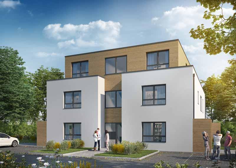 Foto des fertigen Sechsfamilienhauses in Morschenich-Neu, erstellt von Korb-Architekten